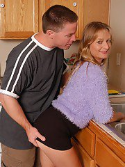 exclusivemilf pics older-lady-vickie-taking-cumshot-on-ass-in-kitchen-after-fucking-big-cock