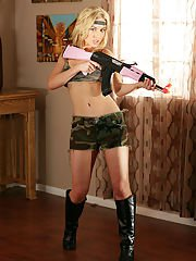 sexygirlspics pics 2013-08-26 playful-blonde-knockout-in-military-outfit-and-black-boots-revealing-her-goods