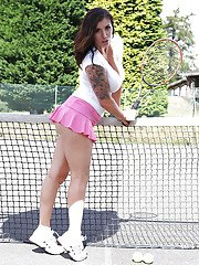 247butts pics tatttooed-sporty-babe-revealing-her-big-tits-and-fingering-her-gash-outdoor
