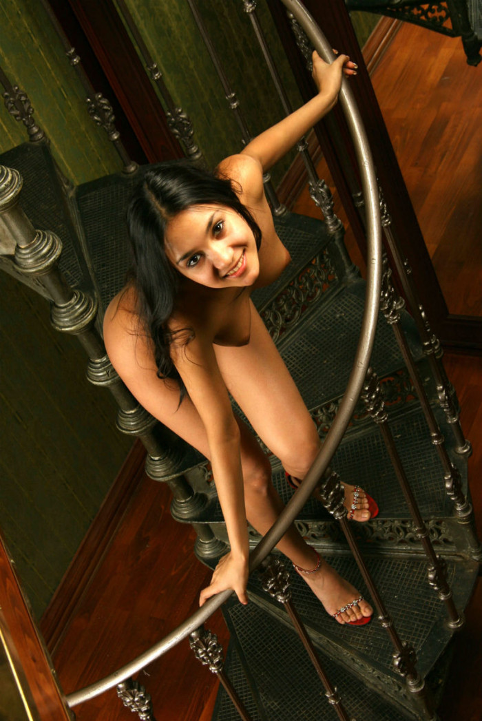 russiasexygirls 197432 teen-brunette-with-tanned-skin-on-spiral-staircase
