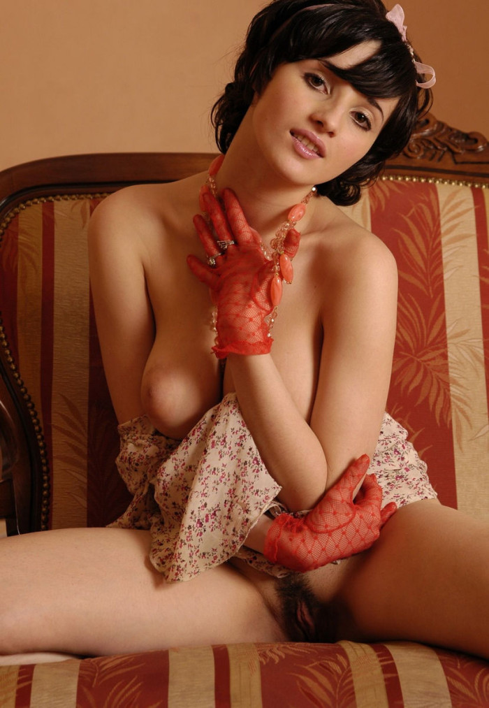 russiasexygirls 115600 short-haired-brunette-with-big-boobs-and-big-hairy-pussy-posing-only-in-red-socks-and-red-gloves