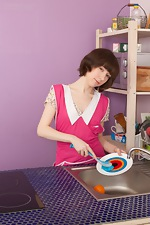 wearehairyfree models Miki Miki_cleans_up_in_the_kitchen