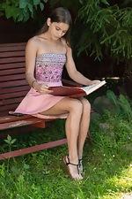wearehairyfree models Evelina_Darling Evelina_Darling_masturbates_on_her_bench_outside