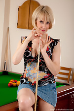 wearehairyfree models Hazel Natural_Hazel_bends_over_the_pool_table