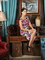 worldoffetish solo-nylon-models vintage-flash tracy-rose-dress freeones