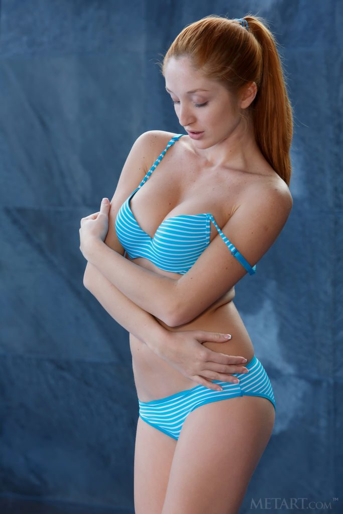 gyrls michelle-h-wet-tanlined-redhead