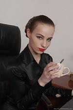 wearehairyfree models Alisa_Pie Alisa_Pie_strips_naked_in_her_office