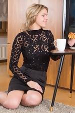 wearehairyfree models Ayda Ayda_strips_while_enjoying_her_breakfast