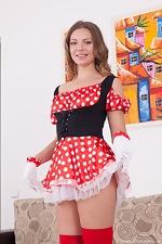 wearehairyfree models Ewangi Ewangi_shows_off_her_red_stockings_on_her_sofa