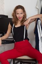 wearehairyfree models Mimi_Lea A_horny_Mimi_Lea_strips_naked_in_her_office