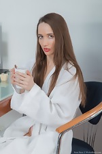 wearehairyfree models Rose_Nore Rose_Nore_sips_tea_and_strips_naked_on_a_table